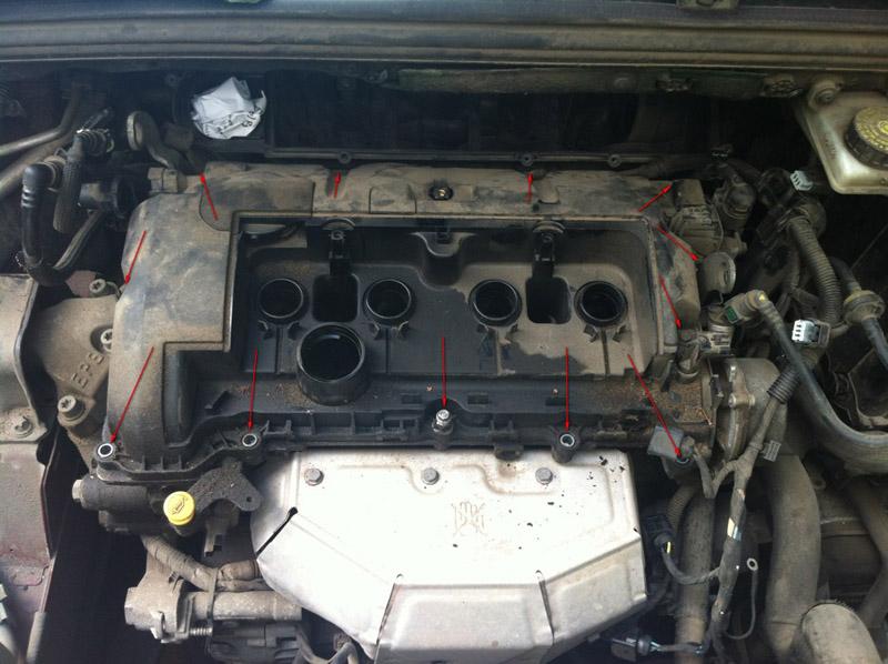 Замена прокладки клапанной крышки Пежо 308